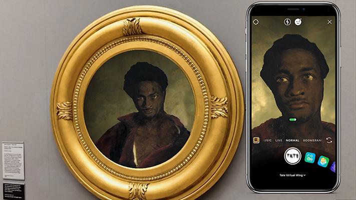 Mit Augmented Reality erweitertes Bild im Tate Museum in Großbritannien