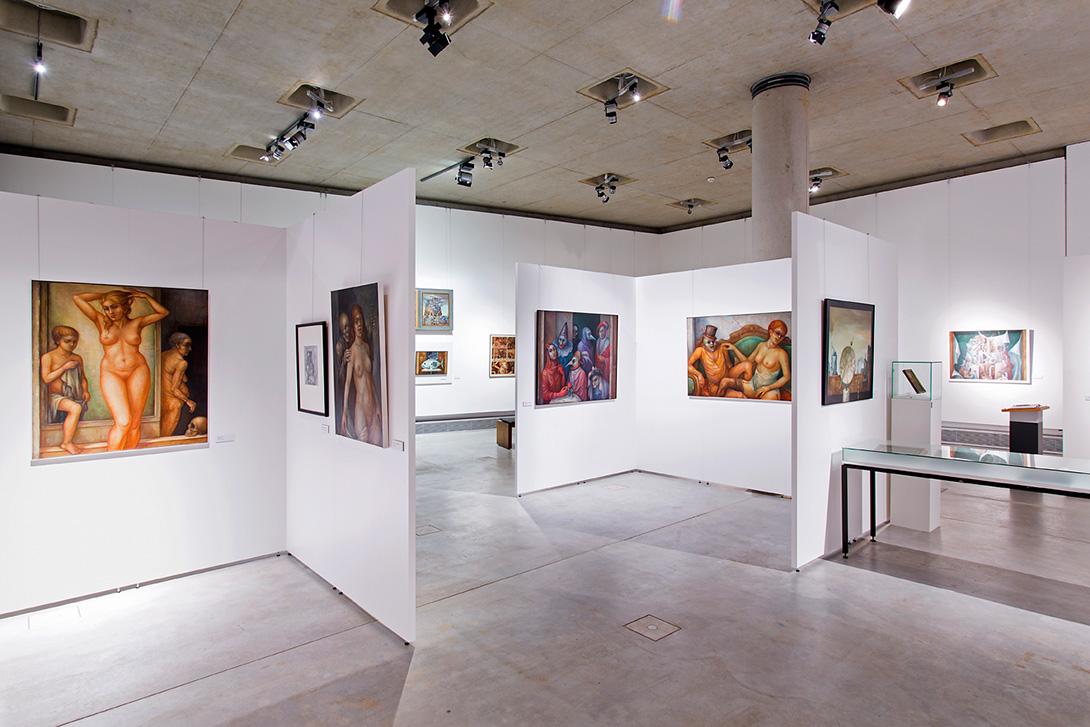 Salle d'exposition avec la technologie Mila-wall dans une exposition au Musée d'archéologie de Herne