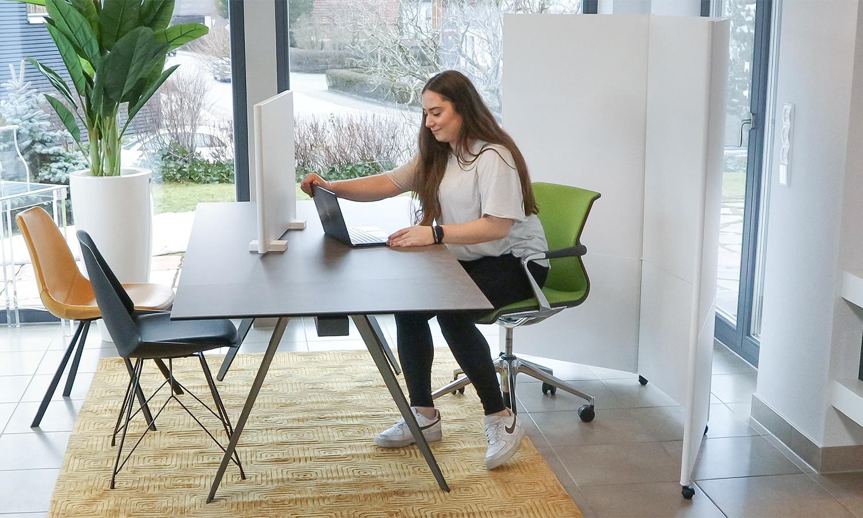 Eine Frau arbeitet am Schreibtisch mit dem Scenario Homeoffice-Kit.