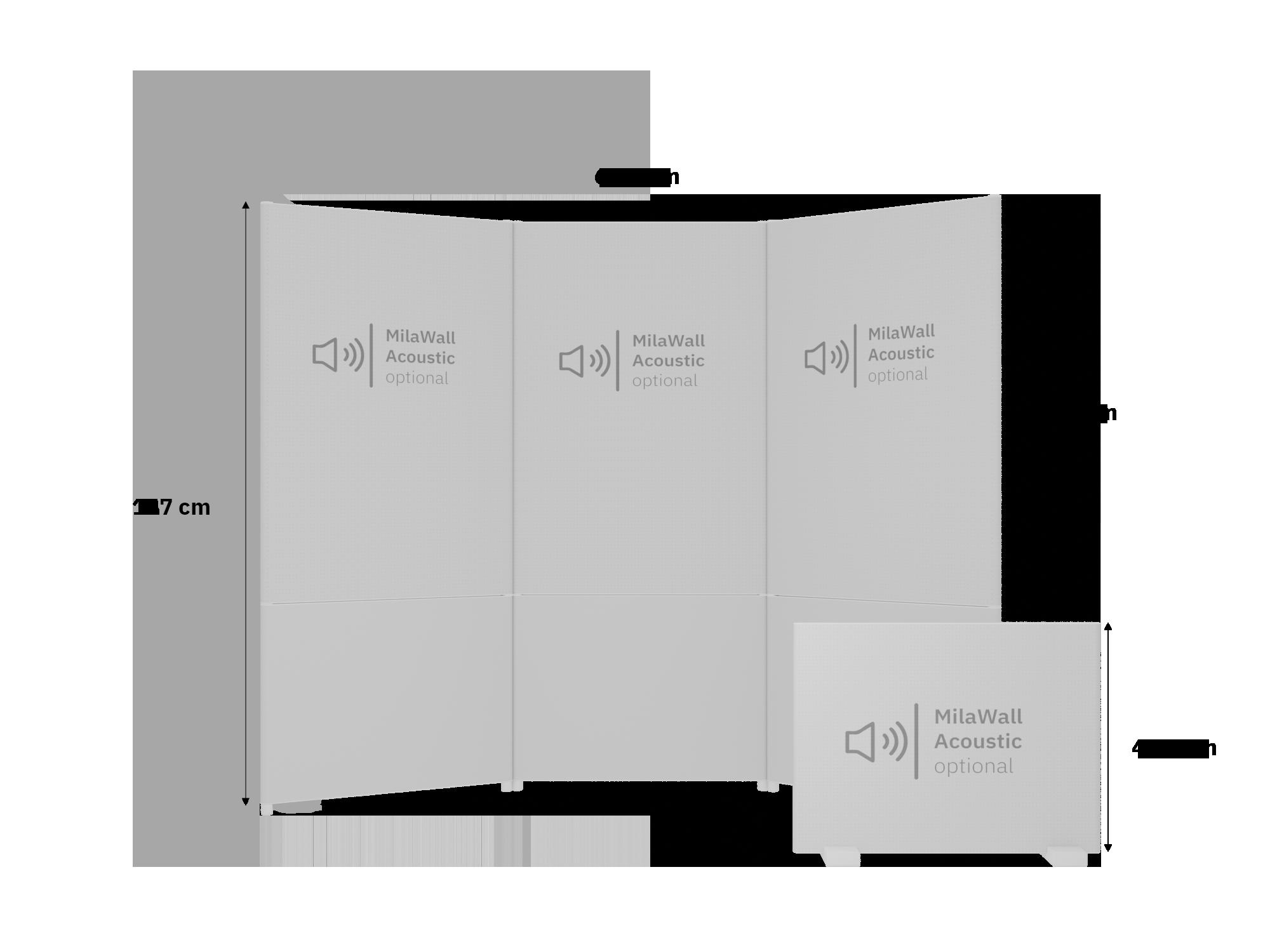 Skizze des Scenario Homeoffice-Kits, Größenvergleich mit Maßen